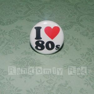 I Love Heart 80's Vintage 1980s Button Pins Badge